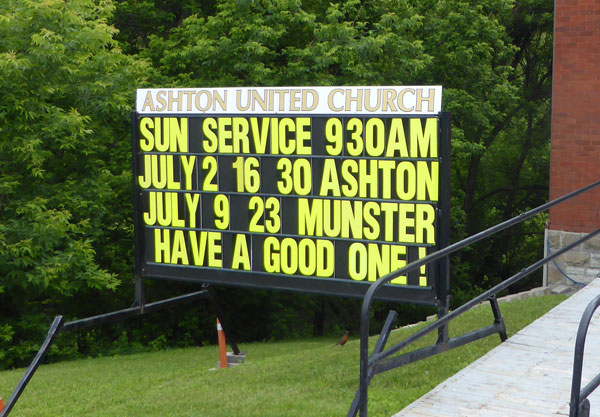 Ashton United Church sample sign