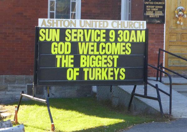 Ashton United Church sample sign